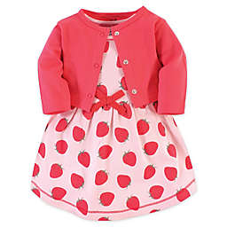 Touched by Nature Size 18-24M 2-Piece Strawberries Organic Cotton Dress and Cardigan Set in Red