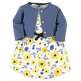 Touched by Nature 2-Piece Garden Organic Cotton Dress and Cardigan Set in Yellow