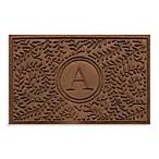 Weather Guard™  Boxwood Monogrammed  A   23-Inch x 35-Inch Door Mat in Dark Brown
