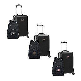 NHL 2-Piece Backpack and Carry On Luggage Set Collection in Black