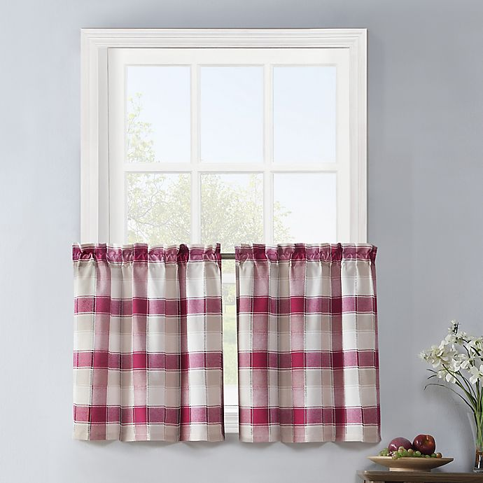 Alternate image 1 for Colordrift Lloyd Stitch 2-Pack 24-Inch Rod Pocket Window Curtain Tiers in Red