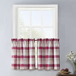 Colordrift Lloyd Stitch 2-Pack 24-Inch Rod Pocket Window Curtain Tiers in Red
