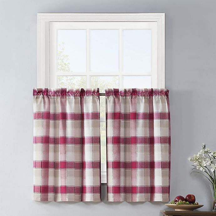 Alternate image 1 for Colordrift Lloyd Stitch 2-Pack Rod Pocket Window Curtain Tiers in Red