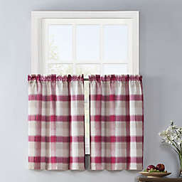 Colordrift Lloyd Stitch 2-Pack Rod Pocket Window Curtain Tiers in Red