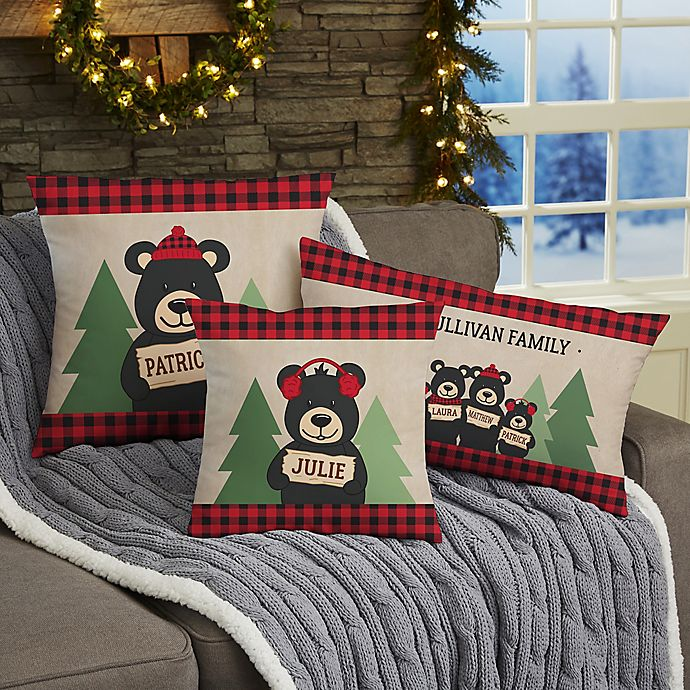 Alternate image 1 for Holiday Bear Family Personalized 12-Inch x 22-Inch Lumbar Throw Pillow