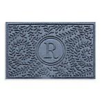 Weather Guard™  Boxwood Monogrammed  R  23-Inch x 35-Inch Door Mat in Bluestone