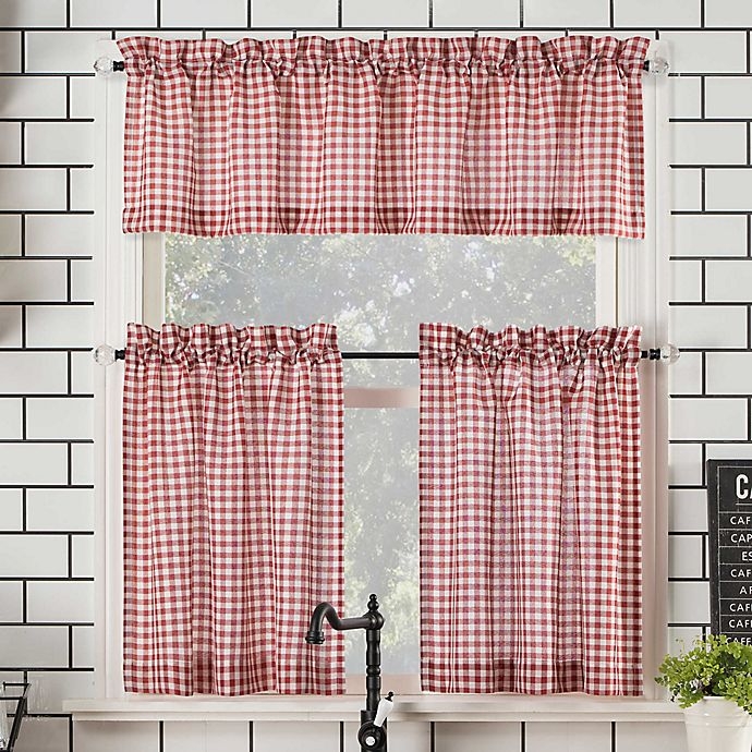 Alternate image 1 for No.918® Parkham Farmhouse Plaid Semi-Sheer Rod Pocket Kitchen Curtain Valance