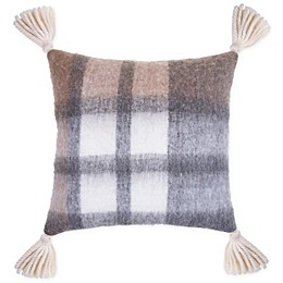 Bee & Willow™ Home Plaid Tassels Square Throw Pillow in Neutral