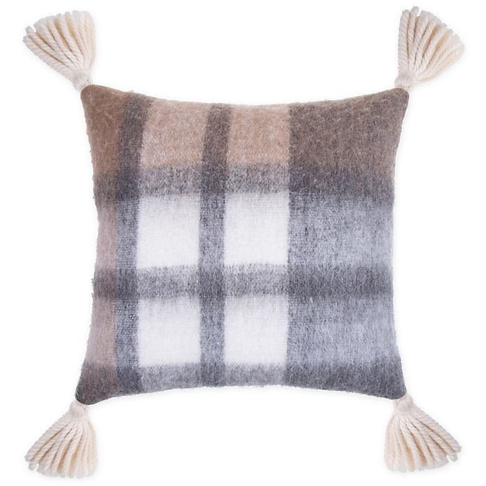 Alternate image 1 for Bee & Willow™ Home Plaid Tassels Square Throw Pillow in Neutral