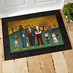 Halloween Family Characters Personalized 18-Inch x 27-Inch Doormat