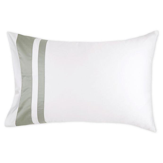 Alternate image 1 for Frette At Home Brenta King Pillow Sham in Ivory/Sage