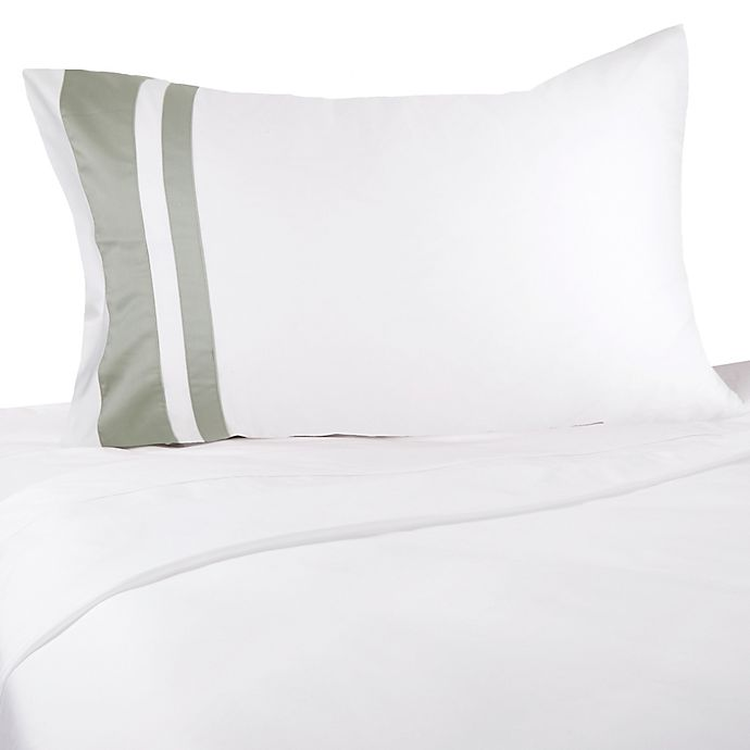 Alternate image 1 for Frette At Home Brenta 280-Thread-Count Standard/Queen Pillowcase in Ivory/Sage