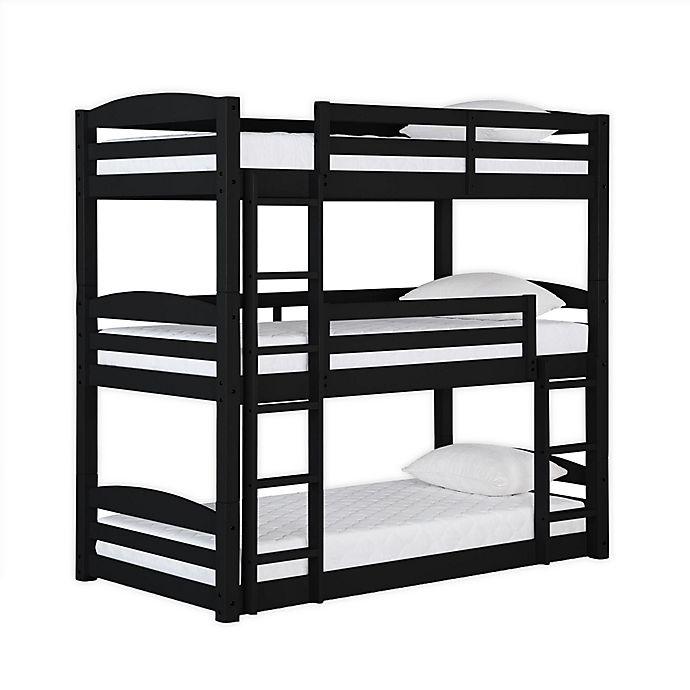 Alternate image 1 for Dorel Living Maverick Wooden Triple Bunk Bed in Black