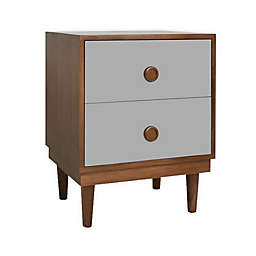 Nico & Yeye Lukka Kids 2-Drawer Nightstand in Grey/Walnut
