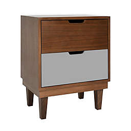 Nico & Yeye Kabano Kids 2-Drawer Nightstand in Walnut/Grey