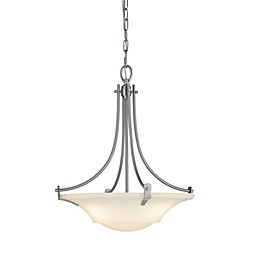 Sea Gull Collection by Generation Lighting Barrington 3-Light Uplight Chandelier in Brushed Steel