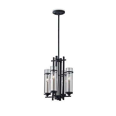 Feiss® Ethan Wrought Iron 4-Light Mini Chandelier with Clear Glass Shades