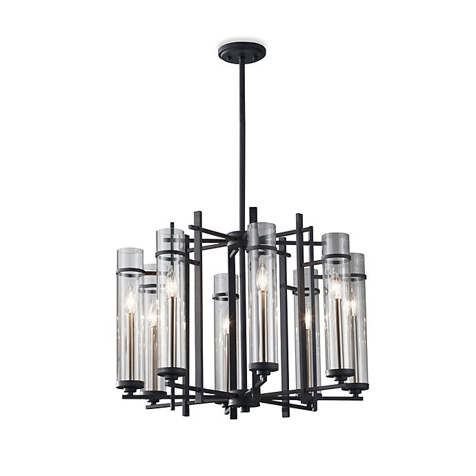 Alternate image 1 for Feiss® Ethan Wrought Iron 8-Light Tier Chandelier with Clear Glass Shades