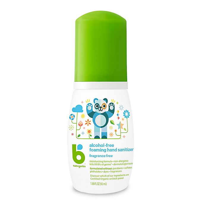 Alternate image 1 for Babyganics® 1.69 oz. Fragrance-Free Alcohol-Free Foaming Hand Sanitizer