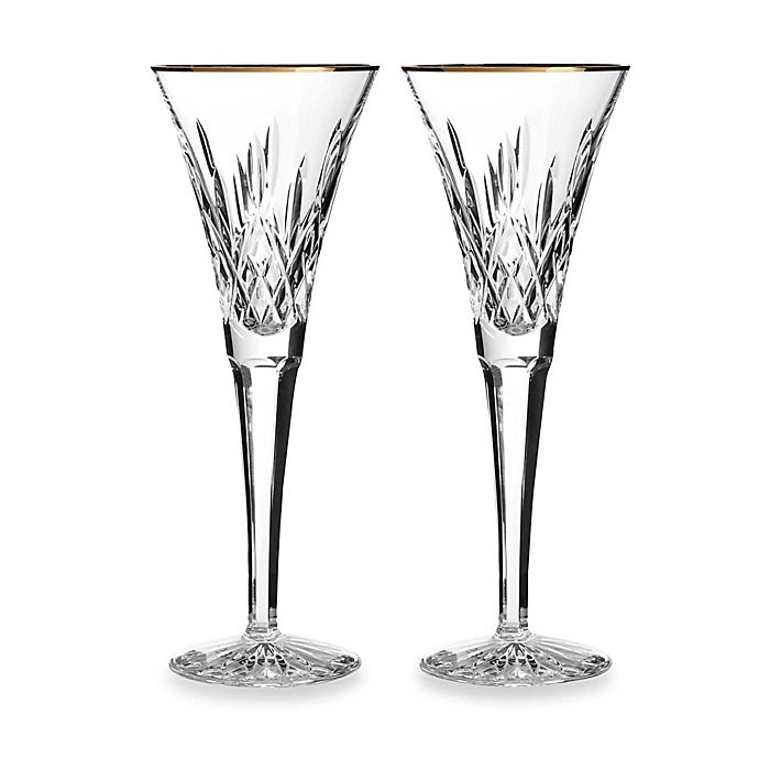 Alternate image 1 for Waterford® Lismore Gold Toasting Flute (Set of 2)