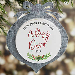 First Christmas Personalized Galvanized Wedding Ornament