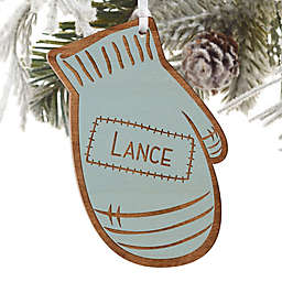 Family Winter Mitten Engraved Wood Ornament in Blue Stain