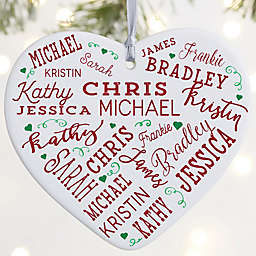"""Close To Her Heart Personalized Heart Ornament- 3.625"""" Matte - 1 Sided"""