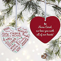 """Close To Her Heart Personalized Heart Ornament- 3.625"""" Matte - 2 Sided"""