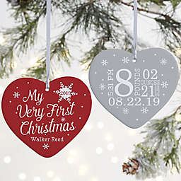 """My Very First Christmas Personalized Baby Ornament- 3.625"""" Matte - 2 Sided"""