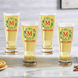 Holiday Monogram Wreath Personalized 20 oz. Pilsner Glass