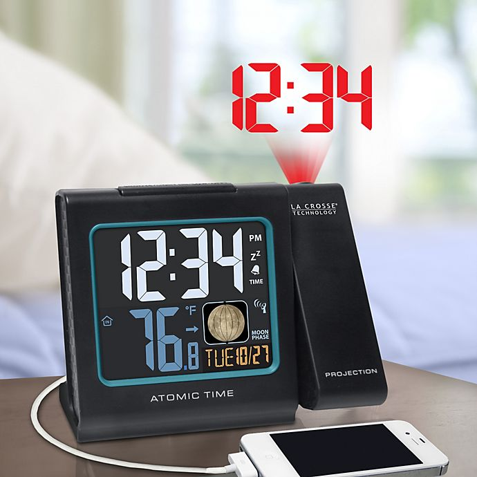 Alternate image 1 for La Crosse Technology Atomic Projection Alarm Clock