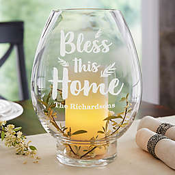 Bless This Home Engraved Hurricane Candle Holder