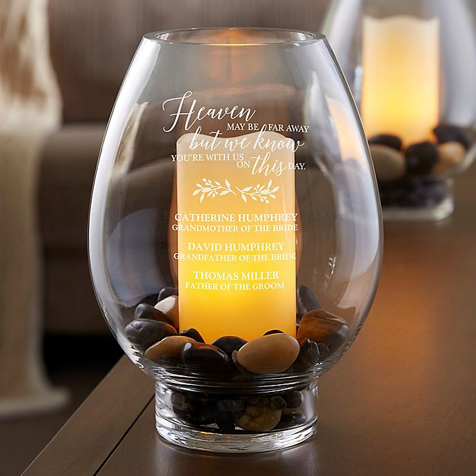 Alternate image 1 for With Us On This Day Engraved Memorial Hurricane Candle Holder for Weddings