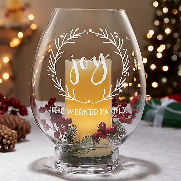 Alternate image 1 for Holiday Wreath Engraved Hurricane Candle Holder