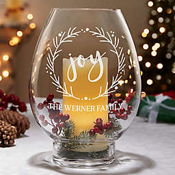Holiday Wreath Engraved Hurricane Candle Holder
