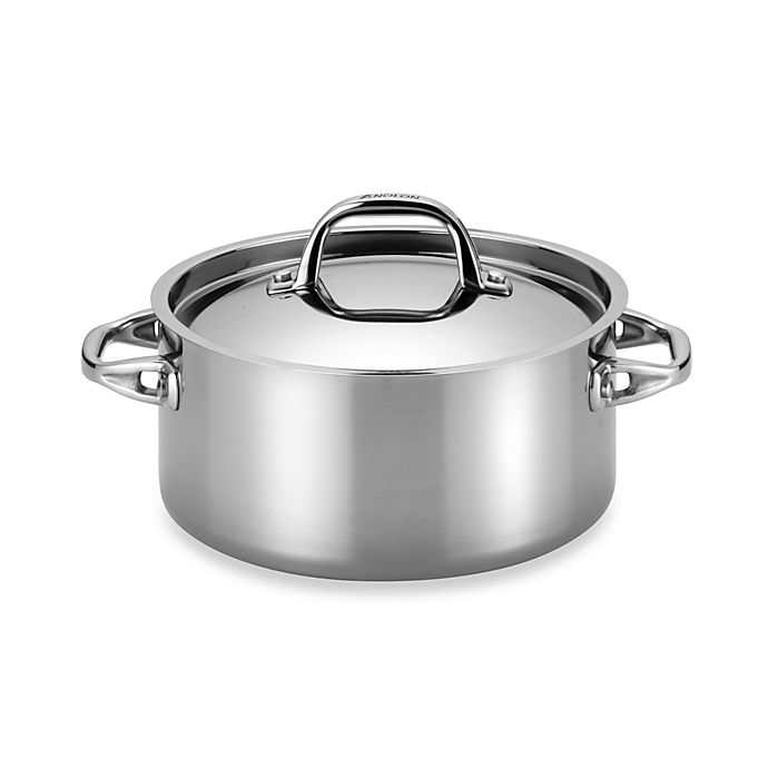 Alternate image 1 for Anolon® Tri-Ply Clad Stainless Steel 5 qt. Covered Dutch Oven