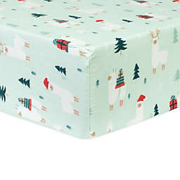 Trend Lab® Reindeer Gifts Deluxe Flannel Fitted Crib Sheet in Mint