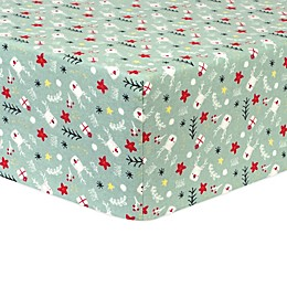 Trend Lab® Reindeer Gifts Deluxe Flannel Fitted Crib Sheet