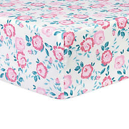 Trend Lab Emma Floral Deluxe Flannel Fitted Crib Sheet in Pink