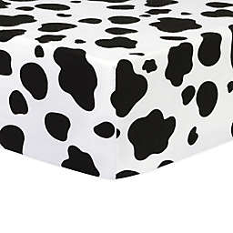 Trend Lab® Flannel Cow Fitted Crib Sheet in Black/White