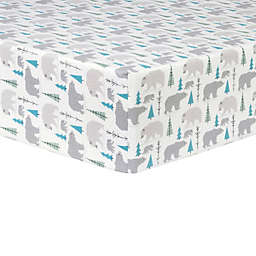 Trend Lab® Bears Flannel Fitted Crib Sheet in Grey/Teal