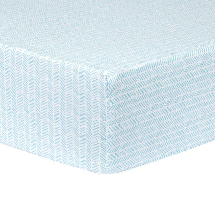 Alternate image 1 for Trend Lab® Herringbone Fitted Flannel Crib Sheet in Aqua/White