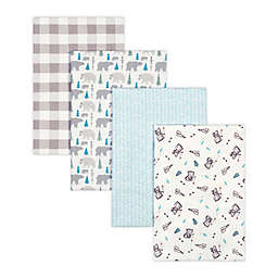 Trend Lab® 4-Pack Bear Flannel Receiving Blankets in Grey/Aqua
