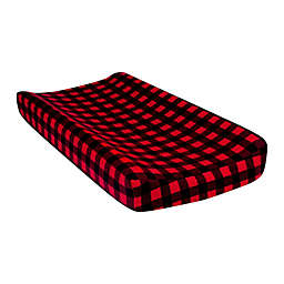 This Trend Lab® Flannel Changing Pad Cover in Red/Black Buffalo Check