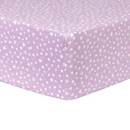 Trend Lab® Flannel Hearts and Stars Fitted Crib Sheet in Purple/White