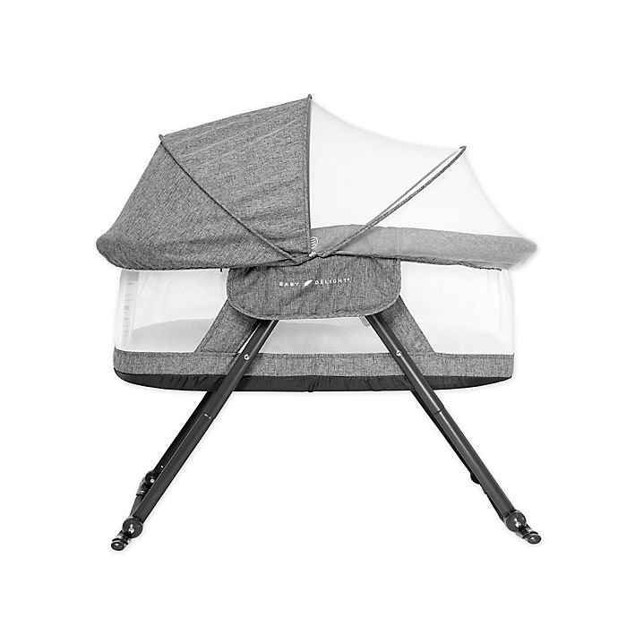 Alternate image 1 for Baby Delight® Go With Me™  Slumber Folding Travel Bassinet in Charcoal Tweed