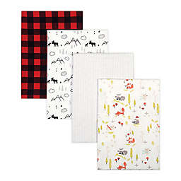 Trend Lab® 4-Pack Woodland Buffalo Flannel Receiving Blankets in Red/Black