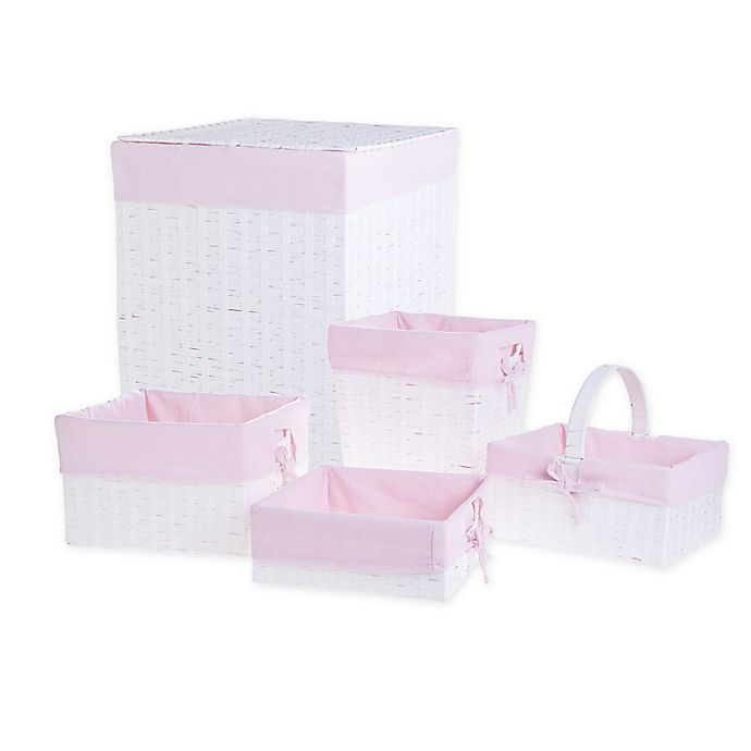 Alternate image 1 for Bee & Coco 5-Piece Wicker Lined Hamper Storage Set in White/Pink