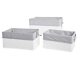 Bee & Coco 3-Piece Wicker Lined Storage Baskets (Set of 3)