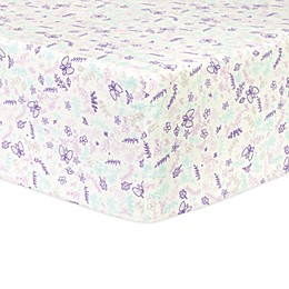 Trend Lab® Flannel Floral Fitted Crib Sheet in Purple/White